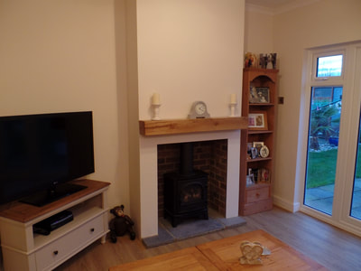 clean white bespoke fireplace Jenkins